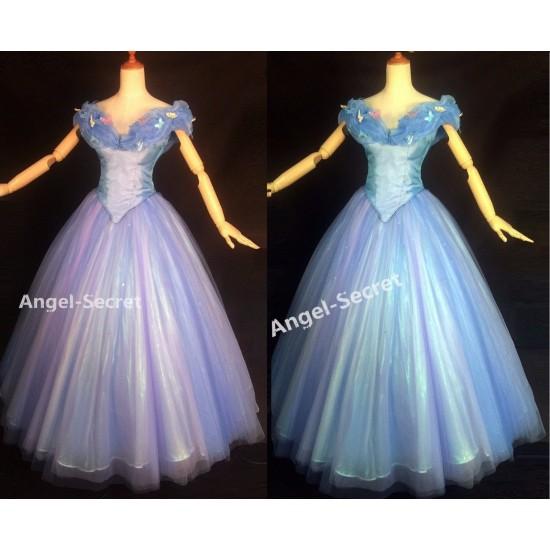 P343 Movies Cosplay Costume Cinderella 2015 Ella blue dress gradient iridescent