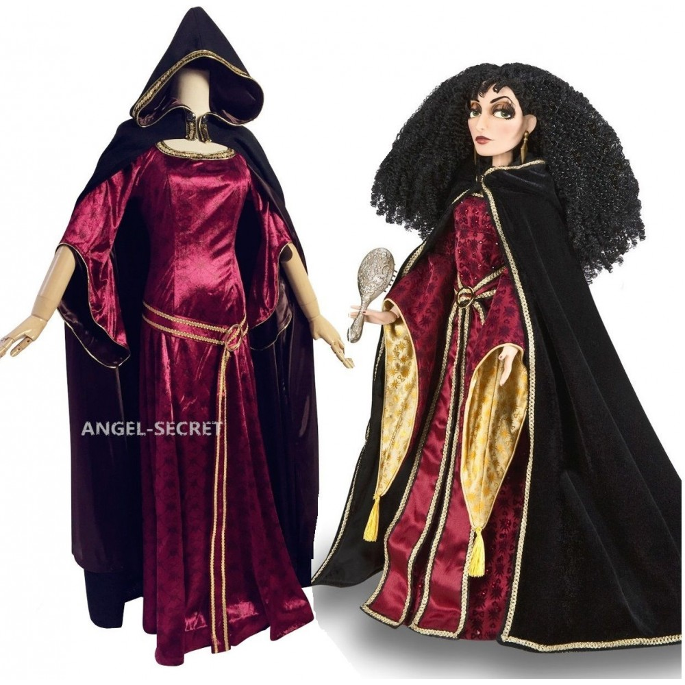 Tangled Rapunzel Mother Gothel Princess Cosplay Costume Tangled Cosplay Dress for Girls Women Adult Red