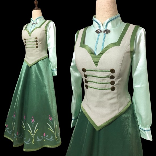 P380 COSPLAY FROZEN ANNA Princess Costume women FULL SET SHIRT+CORSET+SKIRT