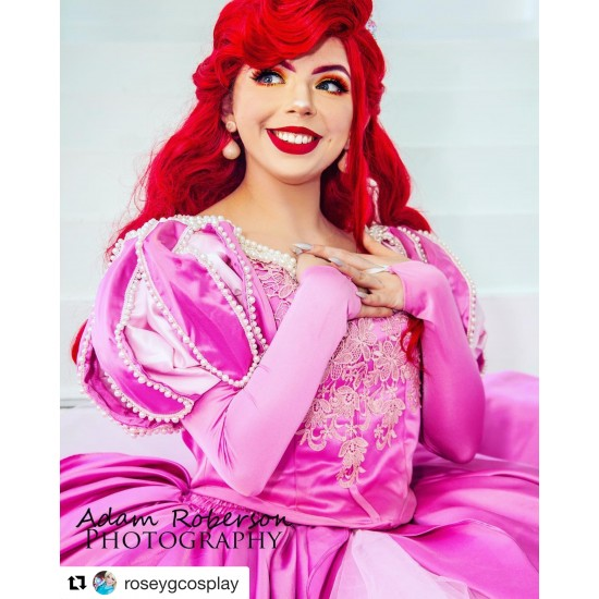 P390  Ariel mermaid Cosplay Costume Dress tailor made women princess pink gown
