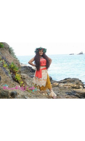 P400 moana costume movie cosplay princess SHELLS corset skirt belt custom made