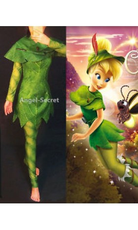 P456 Green Tinkerbell flannel leaf print dress Costume custom made women adult