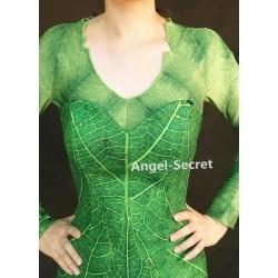 P456 Green Tinkerbell flannel leaf print dress Costume custom made women adult