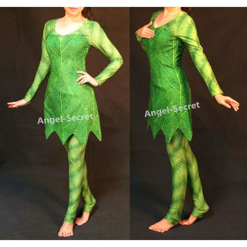 P456 Green Tinkerbell flannel leaf print dress Costume custom ...