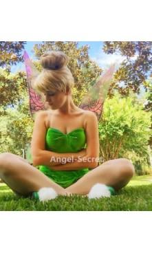 P556C Tinkerbell leaf print dress green  cosplay adult women fairy with rhinestones