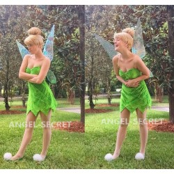 P556C Tinkerbell leaf print dress green  cosplay adult women fairy with rhinestones