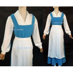 P640 Belle blue dress white shirt with white apron princess beauty and beast
