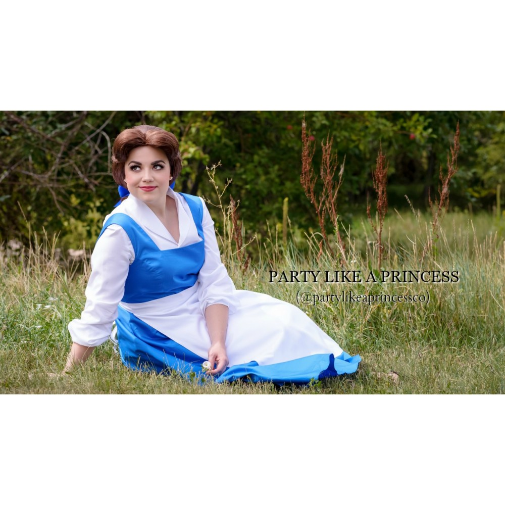 p640 belle blue dress white shirt with white apron