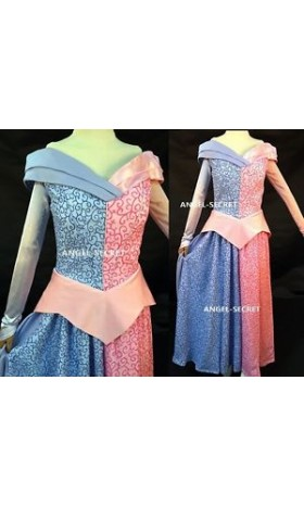 P740 sleeping beauty Cosplay Costume princesss women blue and pink