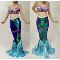 PW149 Green sequins Mermaid Skirt Fish Ariel tail Costume Walkable park version
