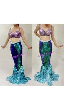 PW149 Green sequins Mermaid Skirt Fish Ariel tail Costume Walkable park version