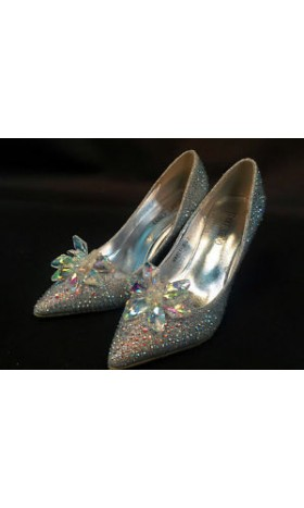 SH888 crystal slipper shoes Cinderella cosplay costume high heel BRIDE BRIDAL