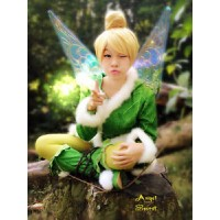 TK1 green Tinkerbell jacket with open to put the wings white furry trim w belt