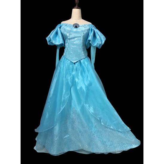 B178 Ariel park version gown fabric with Swarovski brooch The little mermaid ligh Blue version