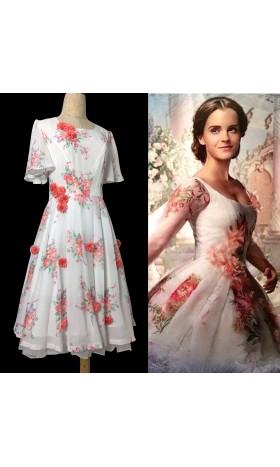 BM31 Belle 2017 white dress celebration dress disneybound chiffon dress with flower