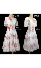 BM31 Belle 2017 white dress celebration dress disneybound chiffon dress with flower