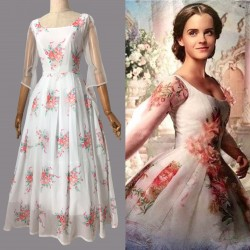 BM33 Belle 2017 white dress celebration dress disneybound chiffon dress long version