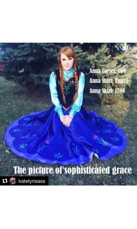 N78 Movies princess ANNA Cosplay Costume Dress tailor made kid adult with full circle skirt