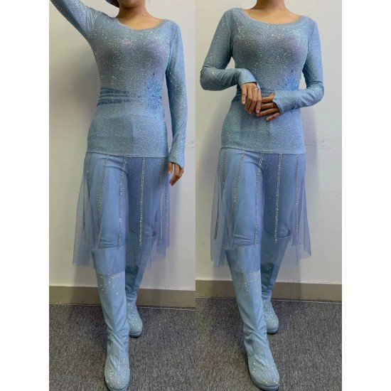 D86 Frozen2 Elsa underdress costume with full rhinestone version