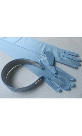 HB259 Cinderella princess matching  gloves and silver trim Headband for P259