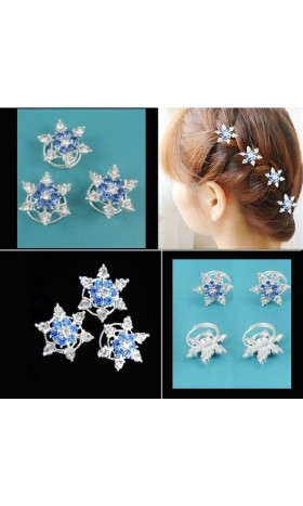 HP11 5pcs/lot  STU snow hairpins blue for Movies Frozen Snow Queen Elsa Cosplay Costume wig