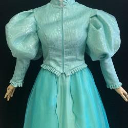 J178 Ariel teal sequins gown park version with swarovski brooch green version