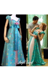J234 women curtain dress Giselle cosplay from Enchanted TEAL PRINCESS new fabric jacquard