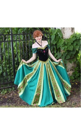 J712  Anna Cosplay Costume  Dress frozen