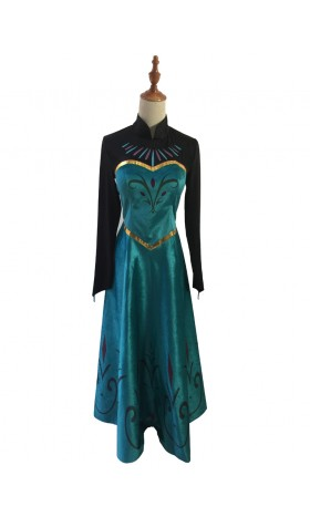J799 Movies Frozen coronation Elsa Cosplay Costume Deluxe Dress tailor made adul