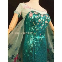 J919 FROZEN FEVER ELSA green dress whole set
