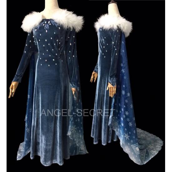 J997 OLAF'S FROZEN ADVENTURE Elsa dress Short Cape version (150CM)