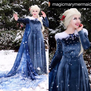 R998 OLAF'S FROZEN ADVENTURE Elsa dress with rhinestone on the bottom of the dress