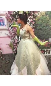 K338 TIANA DISNEY PRINCESS COSTUME DRESS GREEN GOWN