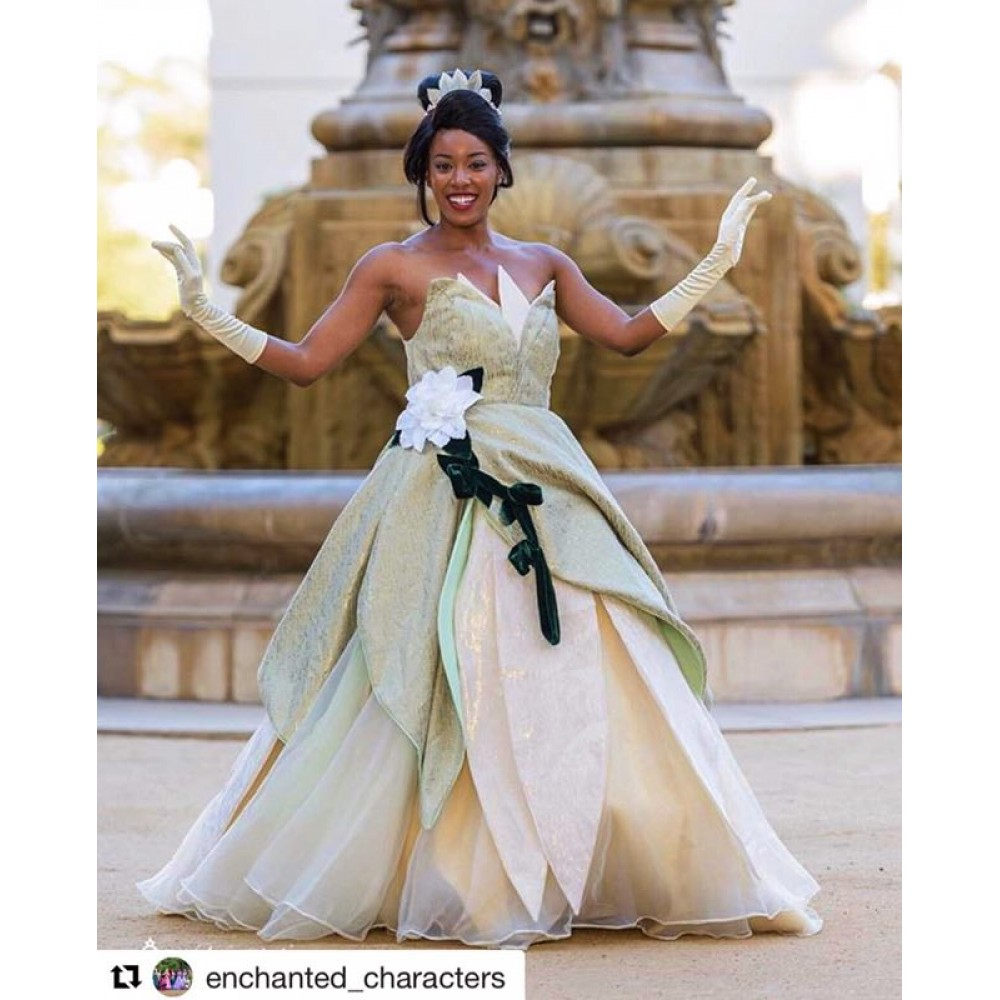Princess Tiana Dress: Tiana-disney-princess-costume-dress-green-down.html