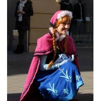 N787WC Movies Frozen princess ANNA Cosplay Costume Dress tailor made kid adult with stretch shirt without cape