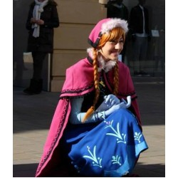 N787 Movies Frozen princess ANNA Cosplay Costume Dress tailor made kid adult with stretch shirt