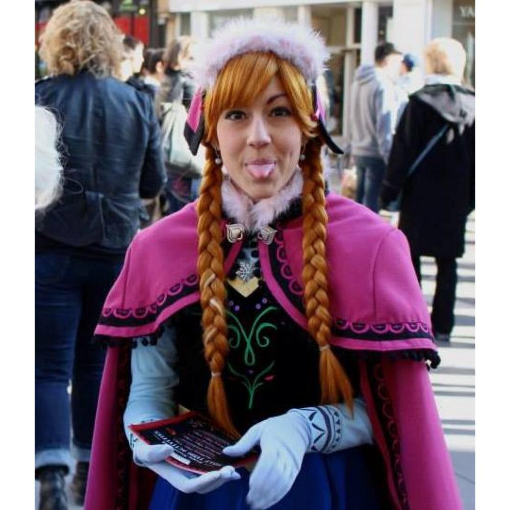J787 Movies Frozen Princess ANNA Cosplay Costume Dress