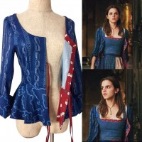 P120 COSPLAY beauty and beast jacket princess belle Costume tailor made 2017 version