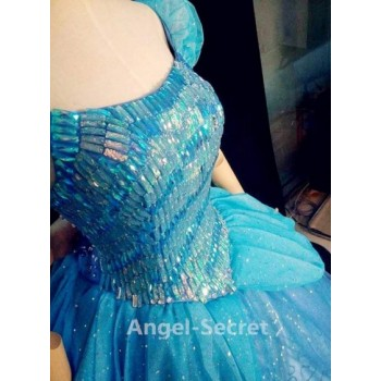 P131B  Princess Cinderella Costume blue classic sparkle bodice in stone like J999