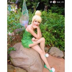 P156C Tinkerbell leaf print dress green rhinestones cosplay adult women fairy
