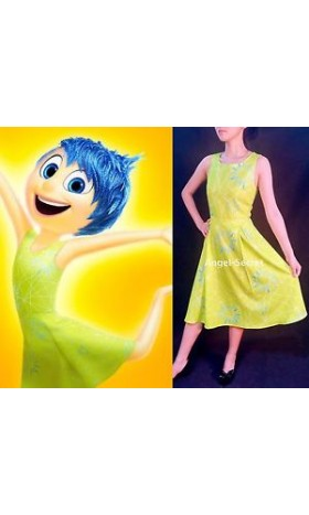 p168 women inside out movie cosplay joy costume dress adult or kid
