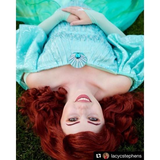P178 Ariel teal sequins gown park version with swarovski brooch green version
