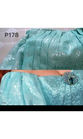 P178 Ariel teal sequins gown park version with swarovski brooch