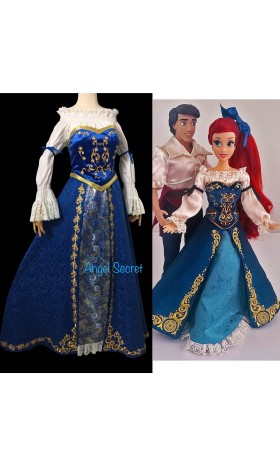 P179 Ariel doll version costume shirt+corset+skirt+Hair bow
