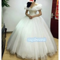 P301 Movie Cosplay Costume Cinderella 2015 Ella white dress wedding bridal