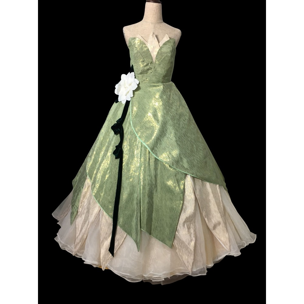Princess Tiana Dress: P338 TIANA DISNEY PRINCESS COSTUME DRESS GREEN GOWN