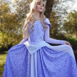 P440 COSPLAY Dress Princess sleeping beauty BLUE Costume Aurora women adult park