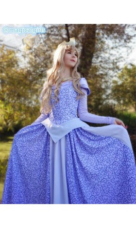 P440 COSPLAY Dress Princess sleeping beauty BLUE Costume Aurora women adult park