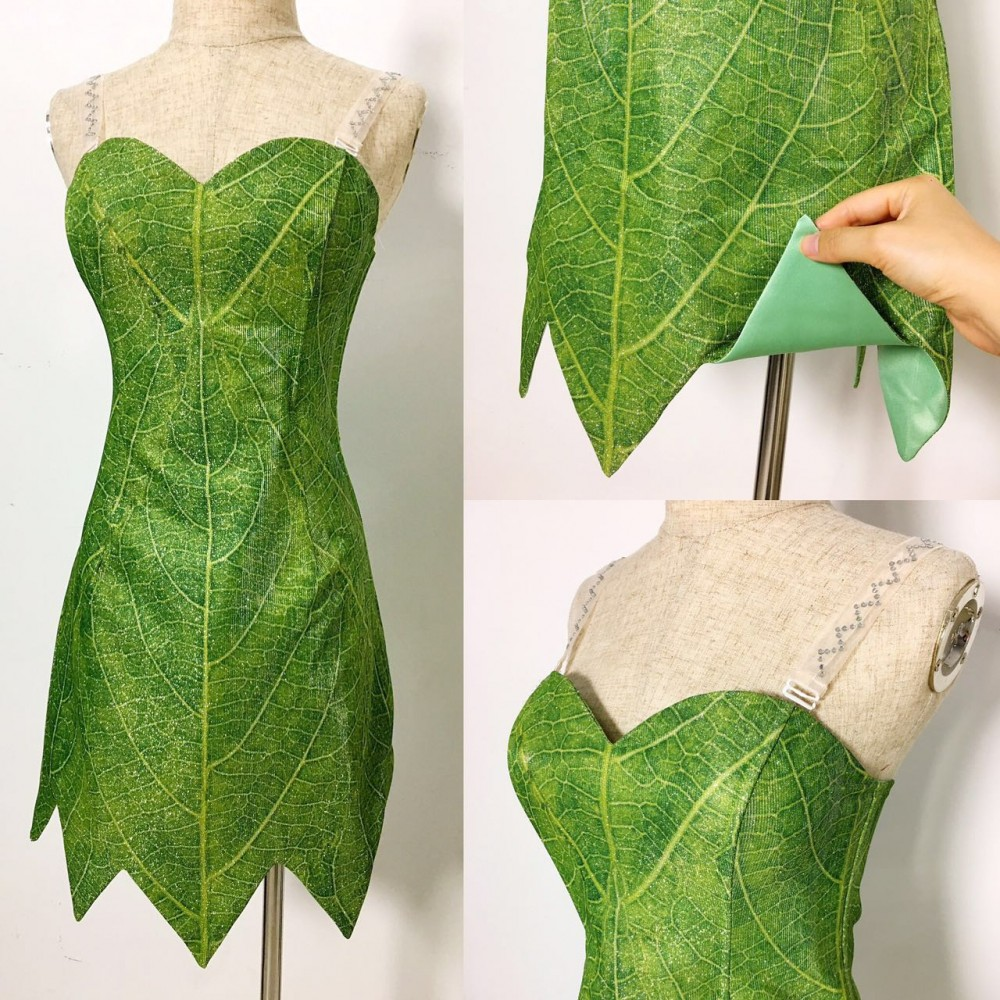 P656 Green Tinkerbell flannel leaf print dress Costume custom ...