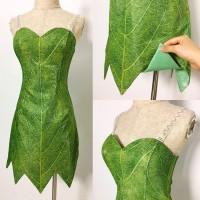 P656 Green Tinkerbell flannel leaf print dress Costume custom made women adult